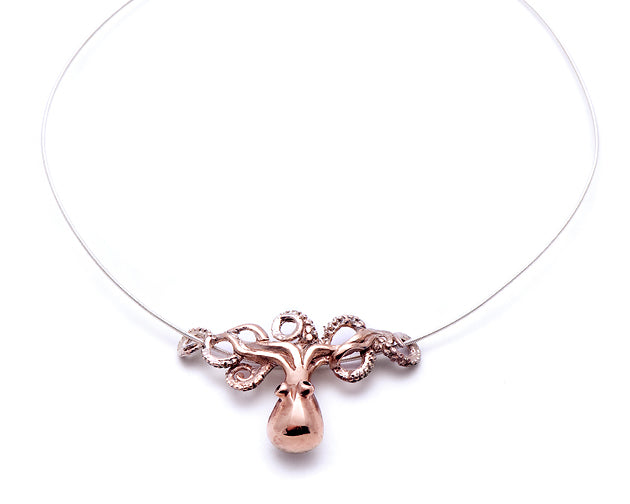 Carnation Pink Silver Octopus Necklace