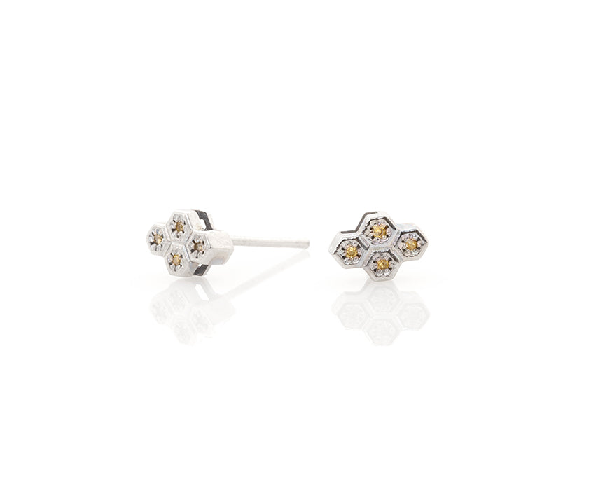 Yellow Diamond Honeycomb Compass Post Earrings