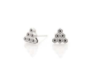 Honeycomb Triangle Earrings with Screw Backs