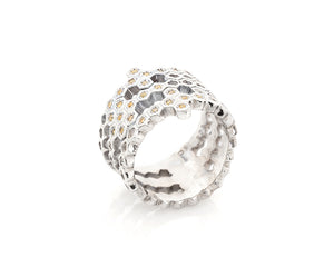 Silver Honeycomb Ring with Yellow Diamonds 1