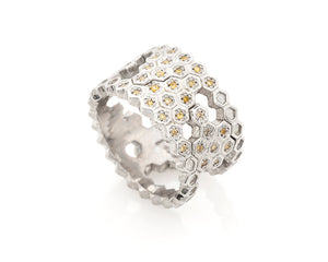 Silver Honeycomb Ring with Yellow Diamonds 2