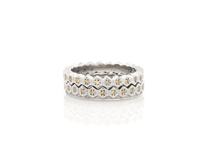 Honeycomb Diamond Eternity Band with Flat Edge