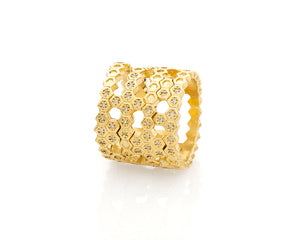 18ky Gold Honeycomb Double Pyramid Ring