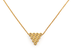 18ky Gold Honeycomb Triangle Necklace