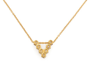 18ky Gold Honeycomb Floating V Necklace