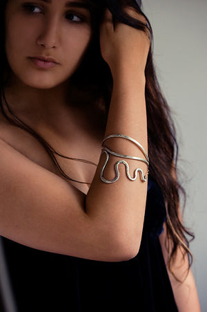 Snake Bracelet with Golden Tongue