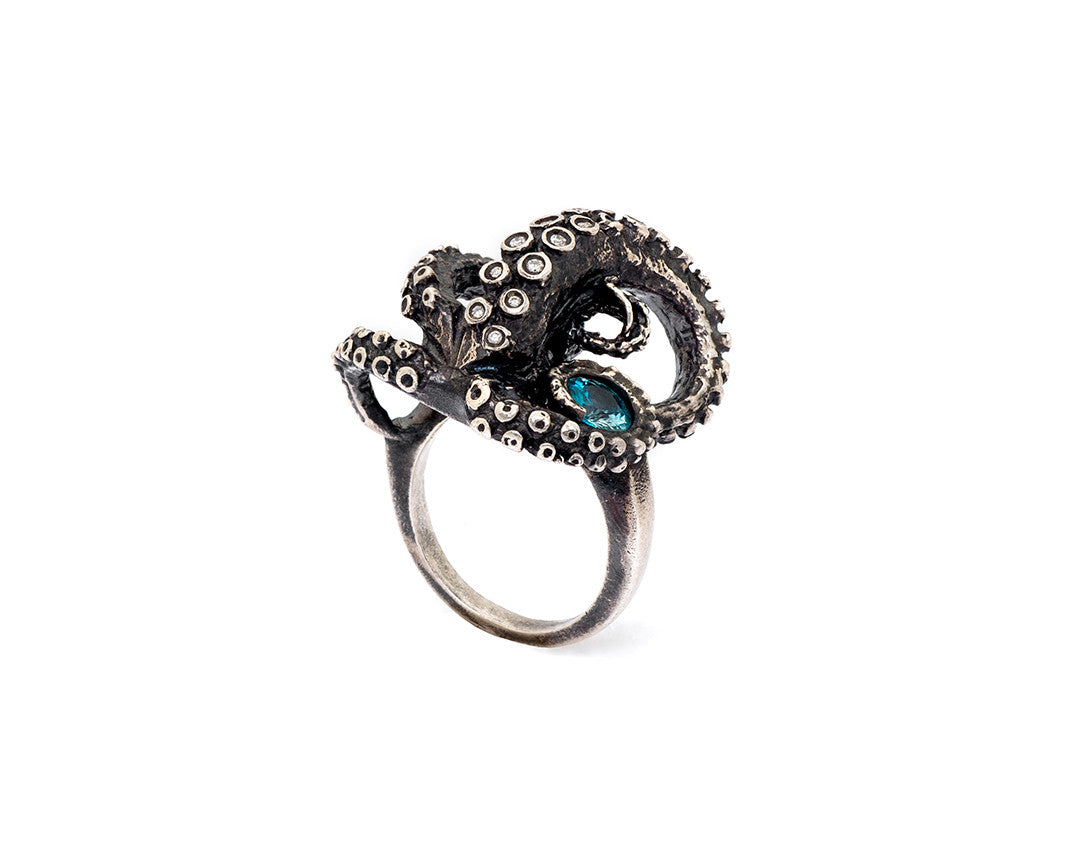 Diamond and Aquamarine Tentacle Ring