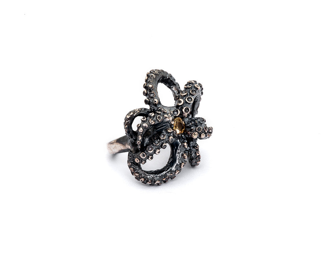 Yellow Garnet Tentacle Ring