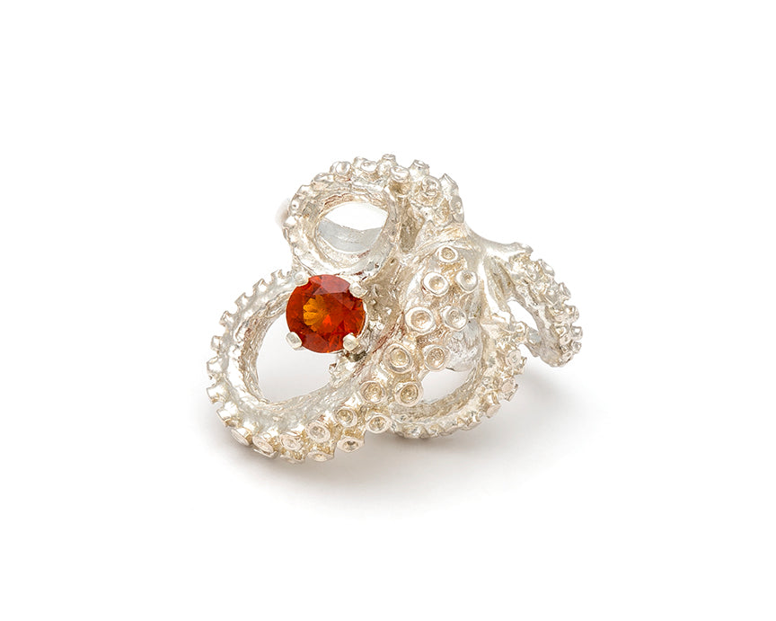 Tentacle Sculpture Ring with Mandarin Garnet