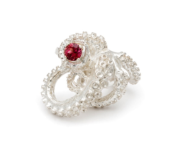 Tentacle Sculpture Ring with Pink Tourmaline