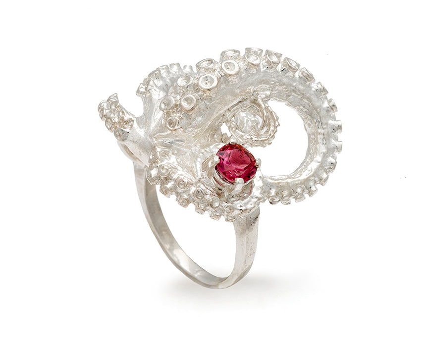 silver tentacle ring with 4mm gem quality electric pink tourmaline