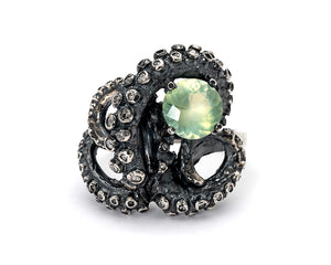 Diamond and Prehnite Tentacle Ring