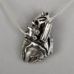 heart locket, peggy skemp jewelry, anatomical heart, heart necklace, medical jewelry, anatomical heart locket, heart locket, anatomy, medical art, medical jewelry, science gift, nursing gift