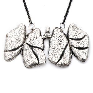Anatomical, anatomy, lung locket, open lungs, peggy skemp jewelry, silver lungs, bronchial, anatomy, medicine, medical jewelry, scientific illustration, peggy skemp jewelry