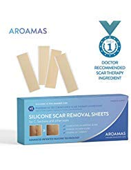 "Aroamas Professional Silicone C-Section Scar Removal Sheets, Soft Adhesive Fabric Strips, Drug-Free, Relieves Itching, Remove Keloid Scars, Acne, 5.7""×1.57"", 4 pcs (2 Month Supply)"