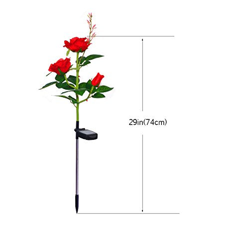 XLUX Outdoor Solar Powered Rose Lights Flower Stake, for Garden Patio Yard Christmas Pathway Decoration, Red