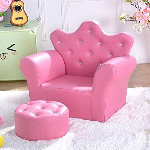 Costzon Kids Sofa, PU Leather Princess Sofa