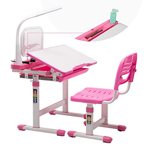 Kids Desk and Chair Set, Height Adjustable
