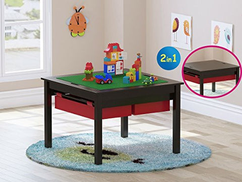 Kids Construction Play Table with Storage Drawers and Built in Plate