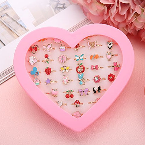 36pcs Kids Adjustable Rings in Box