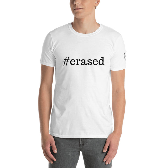 #erased Unisex T-Shirt White & Gray w Black Ink - Parental Alienation Speaks Store
