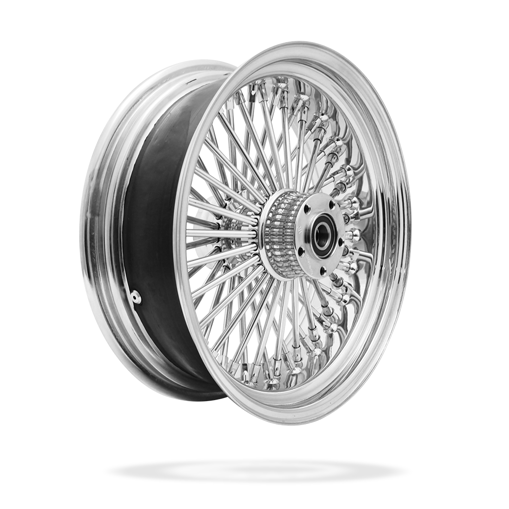16x5.5 Rear 50-Spoke Pre-Staged Custom Motorcycle Wheel (Steel, CCCC)