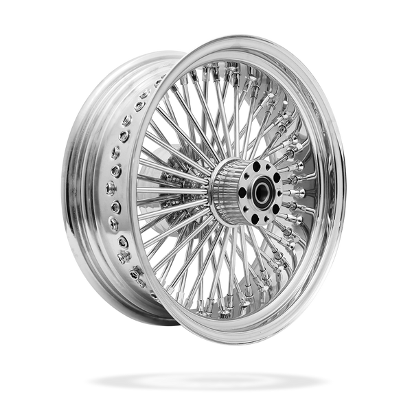 17x6 Rear 50-Spoke Pre-Staged Custom Motorcycle Wheel (Steel, CCCC)