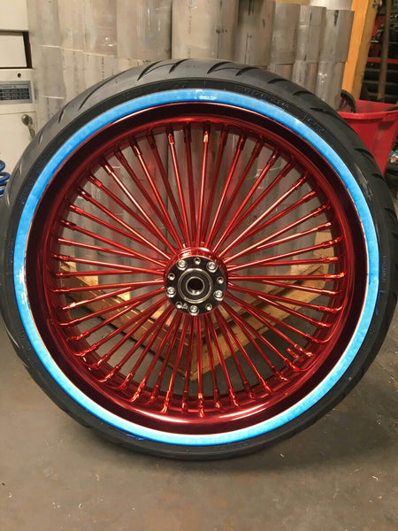 "21"" x 3.5"" Candy Apple Red Rim, Nips, Spoke & Hub Exotica Fat-50 (Tires Included)"