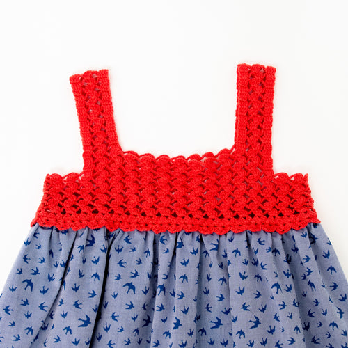 Red Birdy Cotton Dress