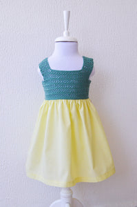 sage green yellow girls dress