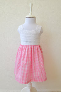 pink gingham baby dress