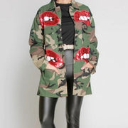 Red Diva Lip Camo  | Jacket