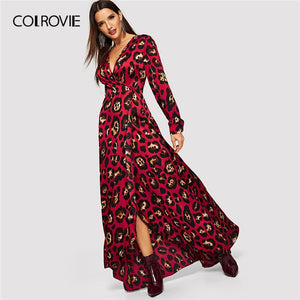 f99ad0d70e70 COLROVIE V Neck Leopard Print Surplice Wrap Christmas Dress Women 2019  Spring Long Sleeve Party Maxi