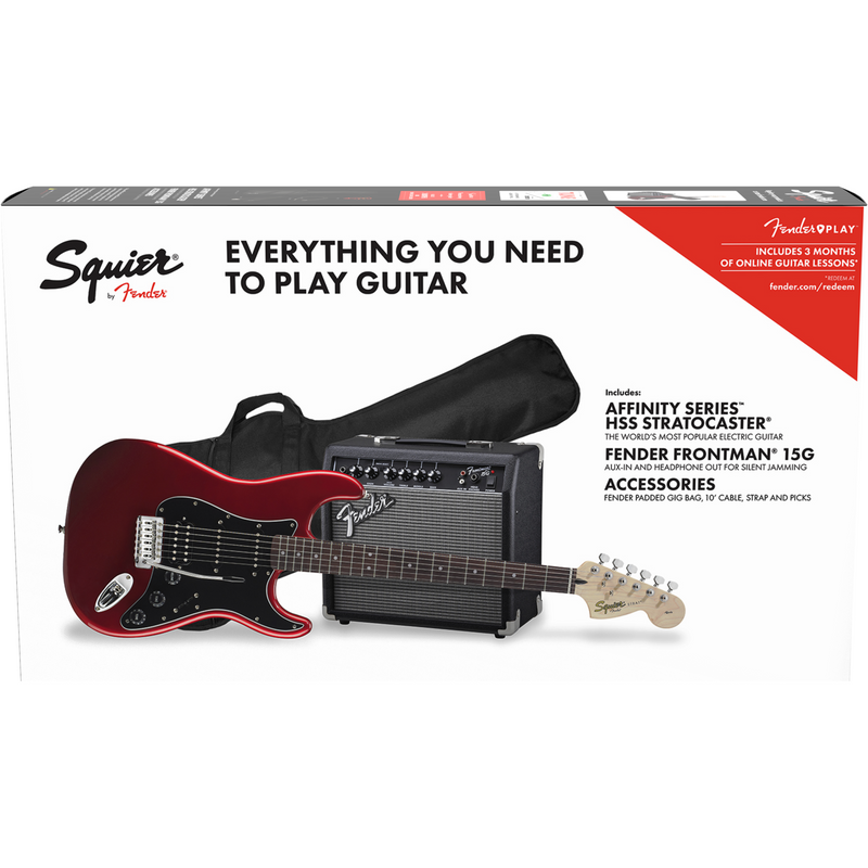 Squier Affinity Strat Pack HSS, Candy Apple Red