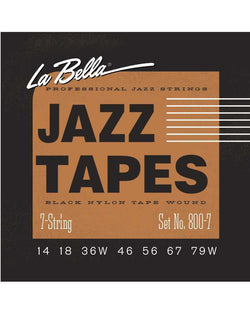 La Bella 800-7 Jazz Tapes Black Nylon Tape Wound 7-String Electric Guitar Strings