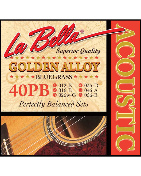 La Bella 40PB Golden Alloy Bluegrass Gauge Acoustic Guitar Strings