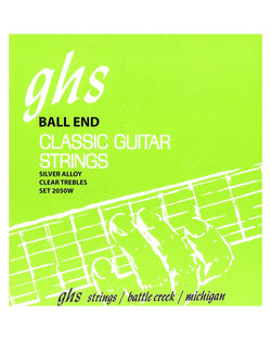 GHS 2050W Ball End High Tension Classical Guitar Strings, Silver Copper Basses, Clear Trebles