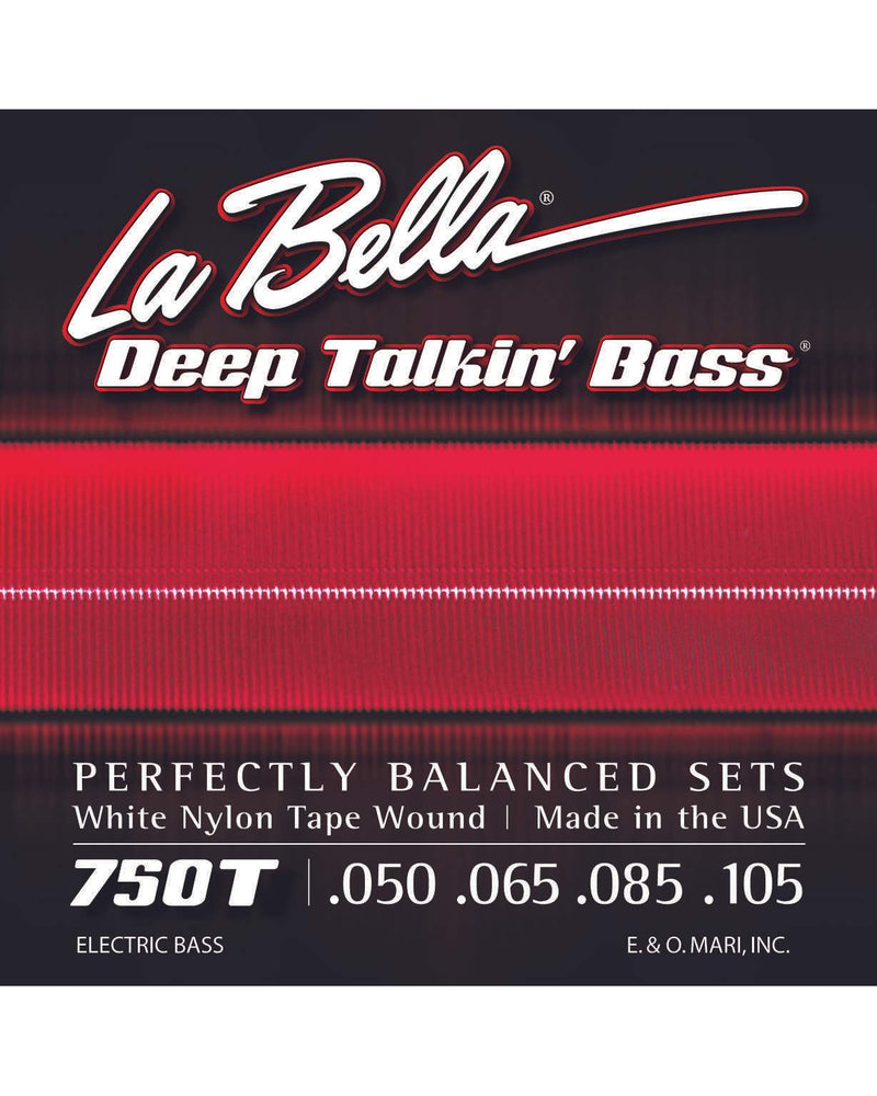 La Bella 750T Deep Talkin' White Nylon Tape Wound Light Gauge 4-String Electric Bass Strings
