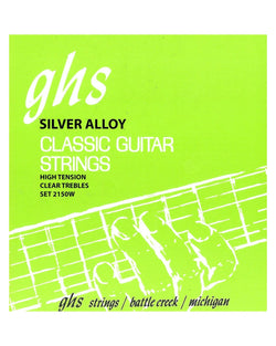 GHS 2150W Tie End High Tension Classical Guitar Strings, Silvered Copper Basses, Clear Trebles