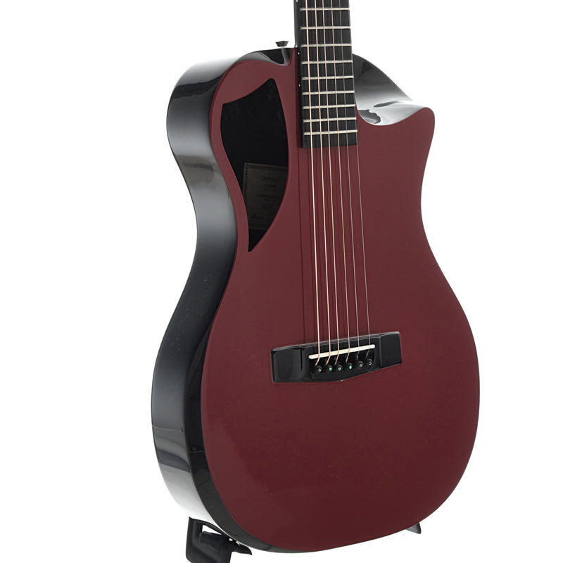 Journey Instruments OF660 Carbon Fiber Collapsible Travel Guitar with Gigbag, Burgandy Red Top