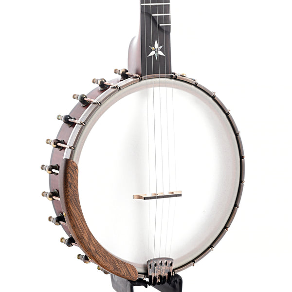 "Ome Flora 11"" Openback Banjo & Case, Curly Maple, Dark Stain"