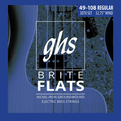 GHS 3070 Brite Flats Nickel/Iron Medium Light Gauge Electric Bass Gauge Strings, Short Scale