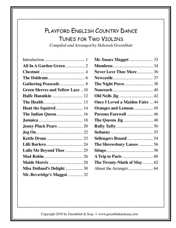 Playford English Country Dance Tunes for Two Violins
