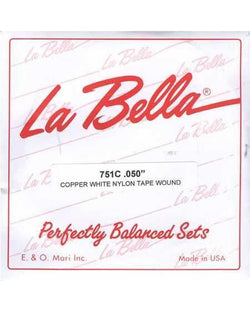 "La Bella 751C Copper White Nylon Single ""G"" Bass String"