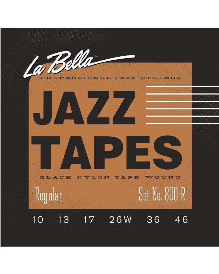 La Bella 800R Jazz Tapes Black Nylon Tape Wound 6-String Electric Guitar Strings