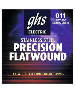 GHS 800 Precision Flatwound Stainless Steel Extra Light Electric Guitar Strings