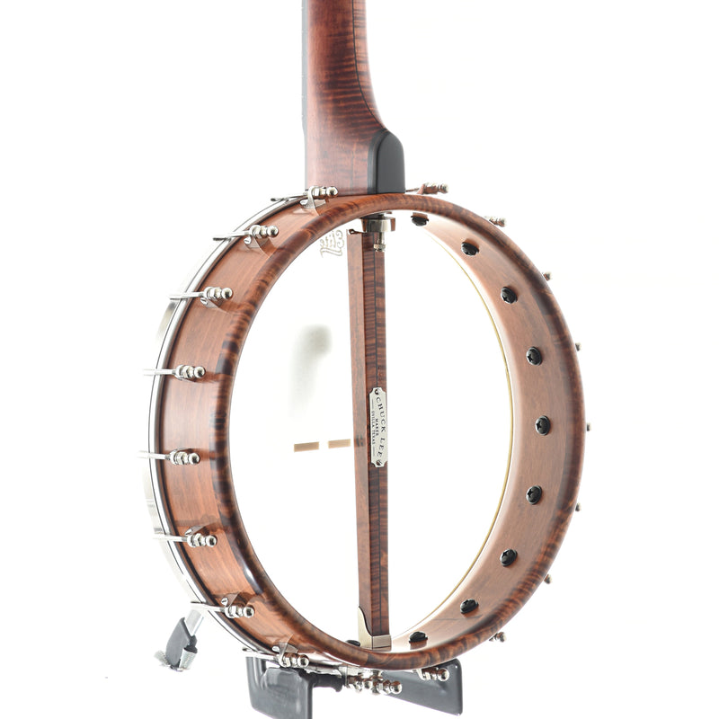 "Chuck Lee Prairieville Curly Maple Openback Banjo, 12"" Rim, Brass Hoop Tone Ring"