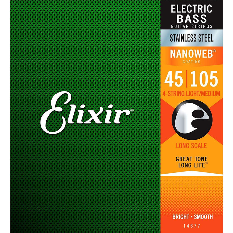 Elixir 14677 Stainless Steel Nanoweb Light/Medium Gauge 4-String Electric Bass Strings, Long Scale