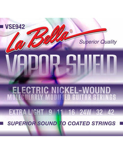 La Bella VSE942 Vapor Shield Nickel Plated Round Wound Extra Light Gauge Electric Guitar Strings