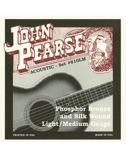 John Pearse 610LM Bronze and Silk Light/Medium Acoustic Guitar Strings